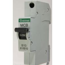 Crabtree 61/B10 Starbreaker 1 Module Single Pole Type B Miniature Circuit Breaker MCB 10A 6kA (Brand New)