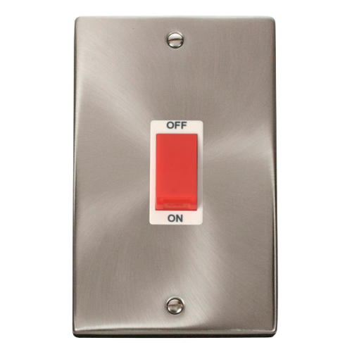 Click Deco 2 Gang 45A DP Switch White Victorian Sat Chrome