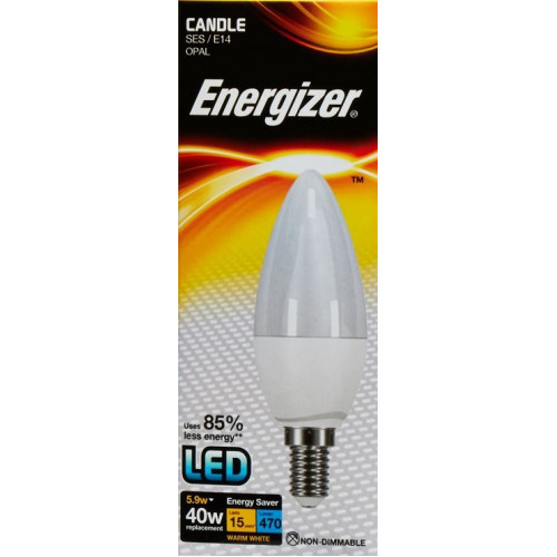 ENERGIZER LED CANDLE 470LM 5.9W OPAL E14 (SES) WARM WHITE