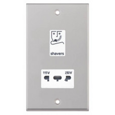 Selectric 7M-Pro Satin Chrome 115/230V Dual Voltage Shaver Socket with White Insert 7MPRO-132