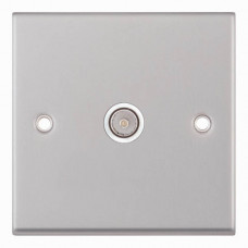 Selectric 7M-Pro Satin Chrome 1 Gang TV Socket with White Insert 7MPRO-133