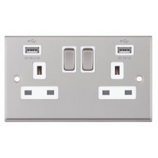 Selectric 7M-Pro Satin Chrome 2 Gang 13A Switched Socket with USB Outlet and White Insert 7MPRO-161