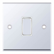 Selectric 7M-Pro Polished Chrome 1 Gang 10A 2 Way Switch with White Insert. 7MPRO-301