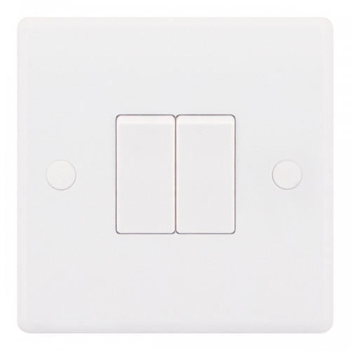 Selectric  Plate Switch 2G 2W 10A Whi