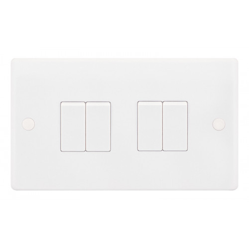 Selectric  Plate Switch 4G 2W 10A Whi