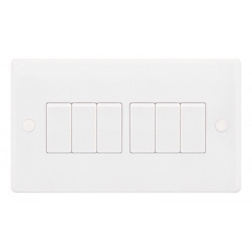 Selectric  Plate Switch 6G 2W 10A Whi
